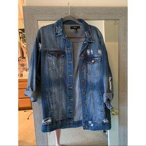 Distressed denim jacket size M